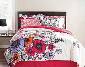 Amazon.com: Pink, Purple & Orange Flowers Full Comforter ...
