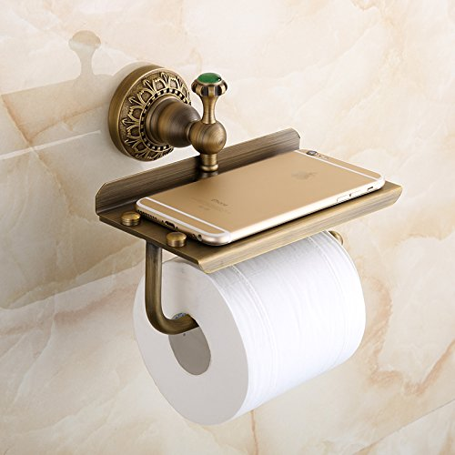 Beelee Bathroom Tissue Holder/toilet Paper Holder Solid Brass Wall-mounted Toilet Roll Holder, Toilet Paper Tissue Holder with Mobile Phone Storage Shelf Antique Brass (Solid Brass Shelf Bracket)