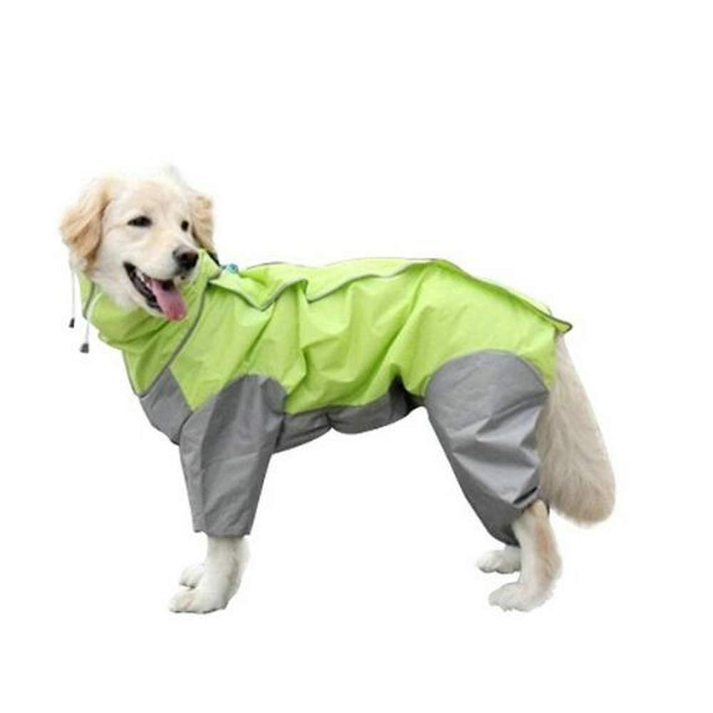 WXJHA Dog Raincoats,Waterproof Lightweight Poncho Hoodies,Comfort Breathable Windproof Rain Snow Poncho,Best Gift Puppy Dog,Green,28 by WXJHA