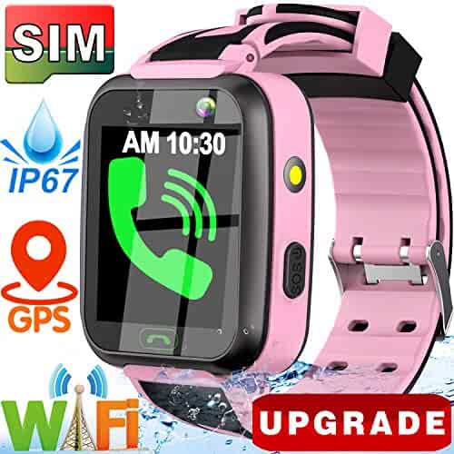 [SIM Card Include] Kids Smart Watch- 2019 Upgrade Real GPS Tracker Waterproof WiFi Smart Watch Phone for Boys Girls with Fitness Tracker Pedometer Camera Alarm Clock for Kids Birthday Gifts (Pink)