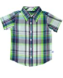 RuggedButts Infant/Toddler Boys Christopher Plaid Short Sleeve Button Down - Christopher Plaid - 18-24m