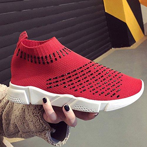 Cybling Vrouwen Lichtgewicht Ademend Casual Sportschoenen Mode Slip Op Wandelen Sneakers Rood