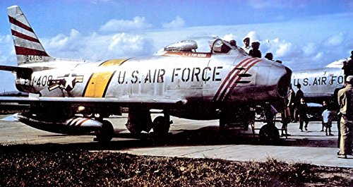 Home Comforts 36th Fighter-Bomber Squadron North American F-86F-30-NA Sabre 52-4408 Itazuke Air Base, Japan. 1954 Vivid Imagery Laminated Poster Print 24 x 36