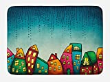 Lunarable House Bath Mat, an Illustration of Fantasy Colorful Houses with Windows Pattern Print, Plush Bathroom Decor Mat with Non Slip Backing, 29.5 W X 17.5 W Inches, Petrol Blue and Yellow
