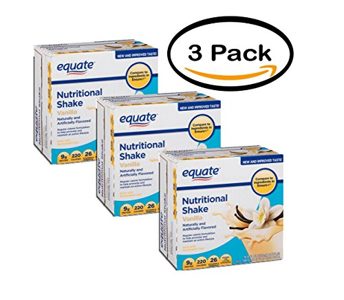 PACK OF 3 - Equate vanilla nutritional shake, 8 Oz, 16 ()