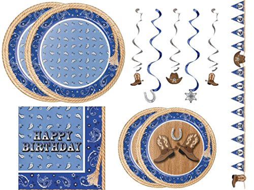 Blue Bandana Western Cowboy Birthday Party Entertaining Pack for 16 guests Western Lunch