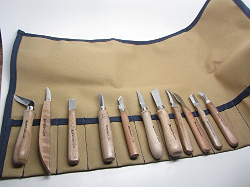 - 11 Chip Woodcarving Knives & Canvas Tool Roll
