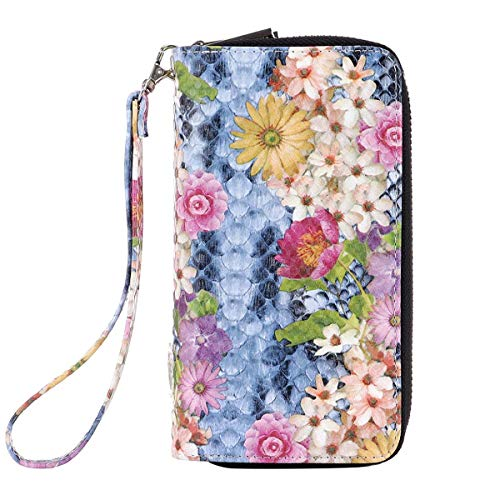 Melory Functional Floral Snakeskin Double Zipper Around Wallet For Young Ladies(Colored painting flowers)