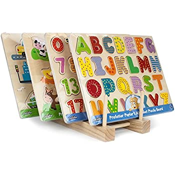Professor Poplar's Puzzle Bundle: Alphabet, Numbers, Barnyard Helpers and People Movers Wooden Puzzles with Natural Wood Display Stand
