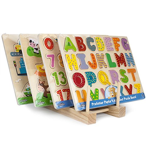 Abc Zoo Alphabet Puzzle - Imagination Generation Professor Poplar's Puzzle Bundle: Alphabet, Numbers, Barnyard Helpers and People Movers Wooden Puzzles with Natural Wood Display Stand