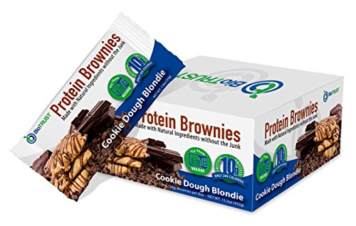 BioTrust Protein Brownies, Decadent High Protein Snacks, Low Carb Gluten Free Brownie Bars, 10g Protein, 9g Net Carbs, 200 Cals, Soft-Baked Protein Bar (Cookie Dough Blondie)