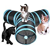 Hengfey Collapsible Cat Tunnel 3 Way Crinkle Fun Tubes Tunnel Kitten Play Toys