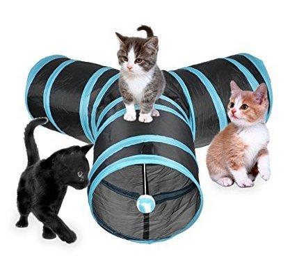Hengfey Túnel plegable para gatos de 3 direcciones, con tubos divertidos, juguete de túnel para gatitos: Amazon.es: Productos para mascotas