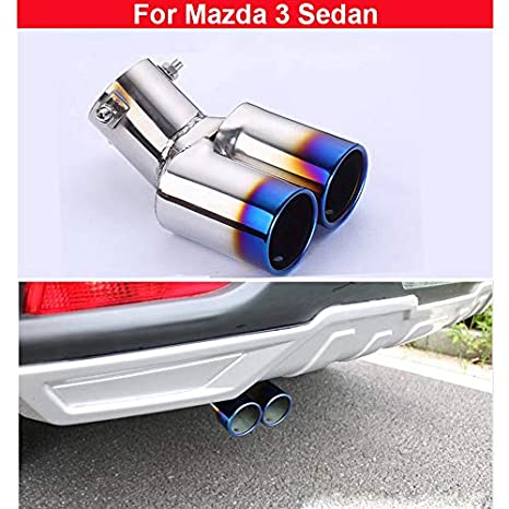 Amazon com: 1x blue Double Outlets Stainless steel Exhaust