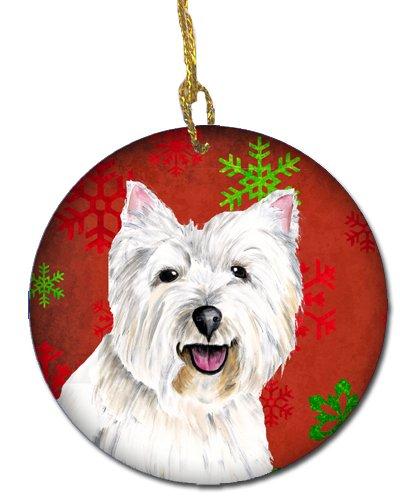 Caroline's Treasures SC9410-CO1 Westie Red Snowflakes Holiday Christmas Ceramic Ornament, Multicolor