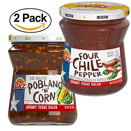 Pace Four Chile Pepper Salsa | Poblano N Corn Salsa Bundle 2 Pack 15oz Each