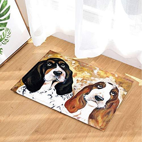 White Background Cute Pet Dog Basset Hound Oil Painting Art Printing Bathroom Carpet Anti-Slip Door Mat Floor Threshold Indoor Front Door Mat Children Bathroom Accessories