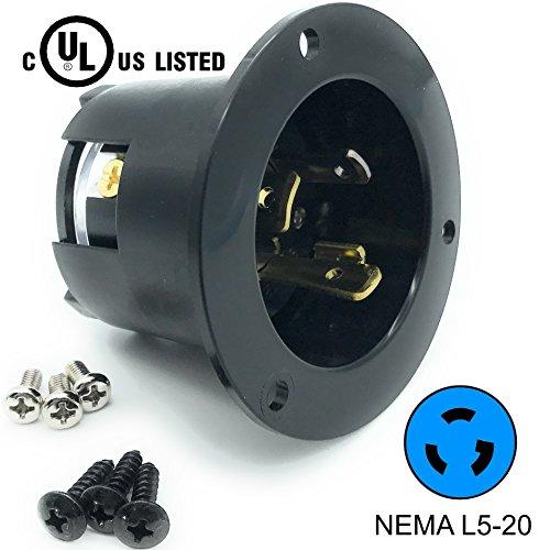 Journeyman-Pro 2315, NEMA L5-20 Flanged Inlet Generator Plug, 20A 125 Volt, Locking Receptacle Socket, Black Industrial Grade, Grounding 2500 Watts (No Cover Included)