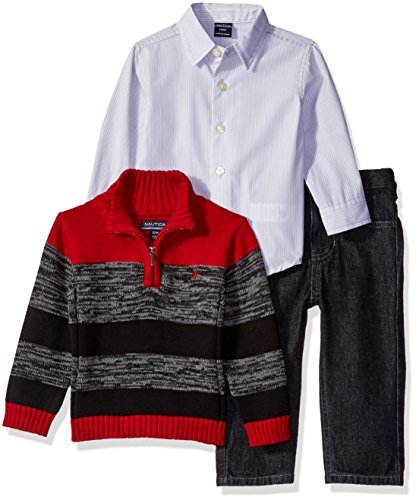 nautica-baby-three-piece-set-with-woven-quarter-zip-sweater-denim-jean-red-rouge-18-months
