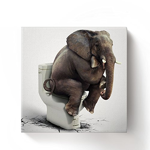 Chucoco Oil Paintings on Canvas Funny Elephant Sitting on the Toilet Abstract Wall Art Print with Framed Ready to Hang, Living Room Kitchen Bedroom Home Decorations 16x16 inch