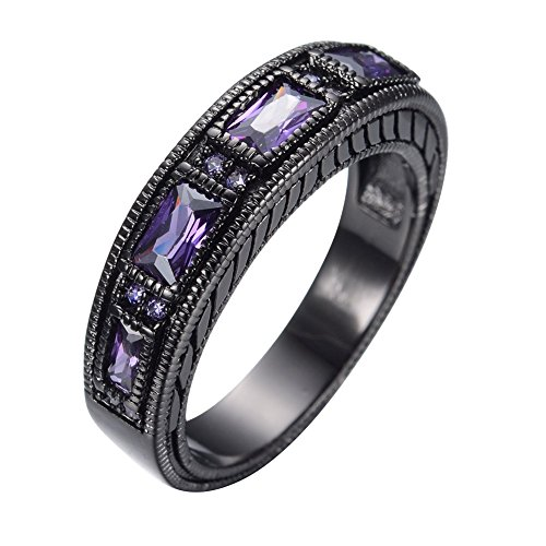JunXin 6MM Unisex-adult European Wedding Band Ring Black Gold Plated Purple Stone Sz5-12