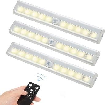 STRIR Barra de Luz con Sensor de Movimiento 10 LEDs Inal/ámbrica L/ámpara Nocturna para Armario//Caj/ón//Camino