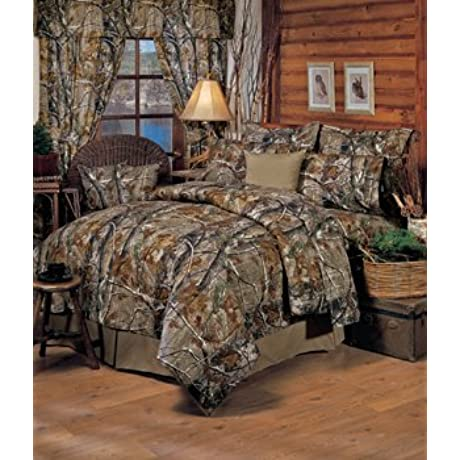 Realtree All Purpose Camouflage Queen 13 Pc Bedding Set Comforter 1 Flat Sheet 1 Fitted Sheet 2 Pillow Cases 2 Shams 1 Bedskirt 1 Valance Drape Set SAVE BIG ON BUNDLING