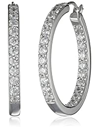 Platinum or Gold Plated Sterling Silver and Swarovski Zirconia Inside-Out Hoop Earrings (3 cttw)