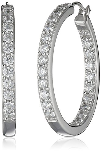 Platinum Plated Sterling Silver Inside-Out Hoop Earrings set with Swarovski Zirconia (3 cttw) Cubic Zirconia Platinum Earrings