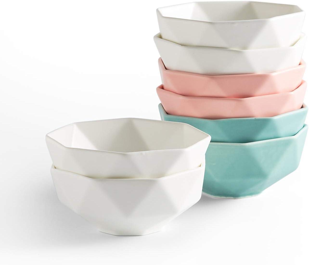 Amazon Com 9 Oz Porcelain Bowls Set Of 8 4 5 Inch Matte Dessert Bowls For Cereal Baking Snacks Rice Multicolor White Pink Blue Kitchen Dining