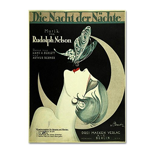 Art Deco Music Sheet by Vintage Apple Collection, 24x32-Inch Canvas Wall Art