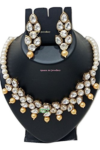 dfc56d9d30e Apsara Art Jewellery kundan Style Look Traditional Gold Plated Golden  Off White  Pearl and White Stone