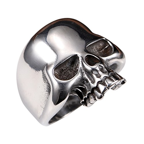 Stainless Steel Men's Cool Skull Head Solid Ring Punk -
