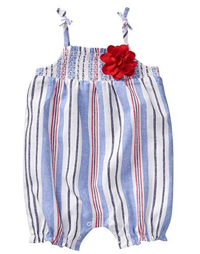 - Gymboree Baby Girls 1-Piece Tie Strap Bodysuit, Cornflower Stripe, 0-3 mo