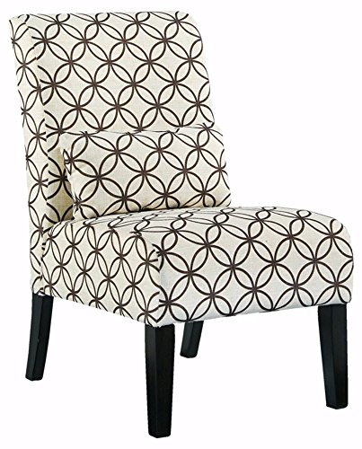 Ashley Furniture Signature Design - Annora Accent Chair - Curved back - Vintage Casual - White with Brown Pattern (Accent Affordable Chairs)