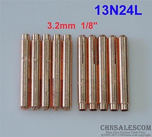 CHNsalescom 10 pcs 13N24L Long Collets for Tig Welding Torch WP-9 WP-20 WP-25 3.2mm 1//8