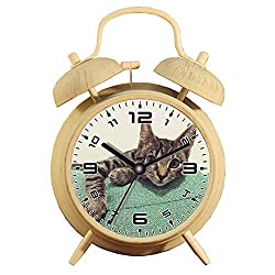 Table Alarm Clock with Backlight, Battery Operated Travel Clock, Round Twin Bell Loud Alarm Clock (Individual Pattern)539.Tabby, Kitten, Cat, Feline, Pet, Domestic, Cute, Animal
