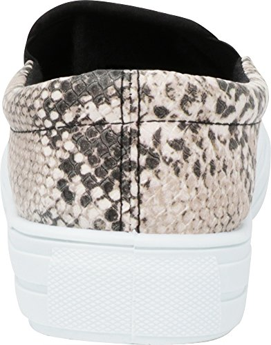 Cambridge Sneaker brown Flatform on White Toe Pu Fashion Select Slip Round Sole Beige Women's Snake 78v7xrq