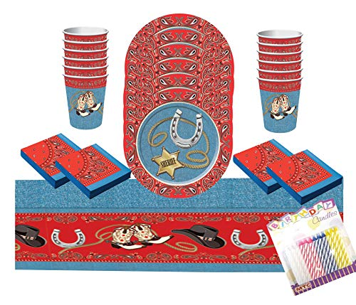 Western Party Supplies Pack Serves 16: Dessert Plates, Beverage Napkins Cups and Table Cover with Birthday Candles (Bundle for 16) -