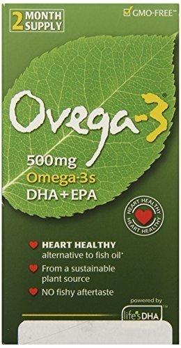 Ovega-3 Vegetarian Softgels, 500 mg, 60 Count (Pack of 3)