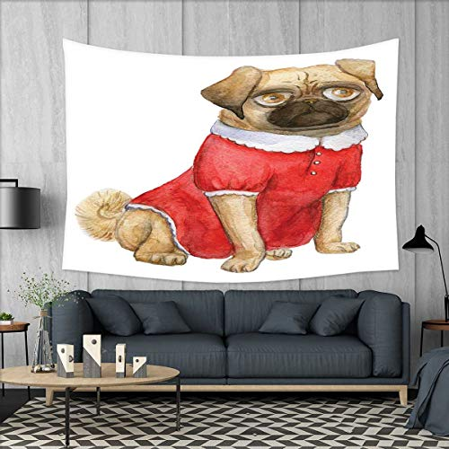 smallbeefly Pug Wall Hanging Tapestries Cute Dog in Red Dress Animal Cartoon Style Design Funny Pet Picture Print Large tablecloths 84