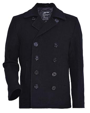 e632794ac84 Seibertron Men s Woolen Coat US Navy Type 80% Wool USN Pea Coat Black S