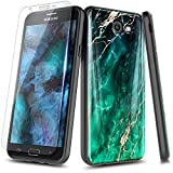 NageBee Case for Samsung Galaxy J3 Prime /J3 2017 /J3 Eclipse /J3 Emerge /J3 Mission /J3 Luna Pro/Express Prime 2 /Amp Prime 2 with Screen Protector, Ultra Slim Thin Glossy Stylish Phone Case -Emerald