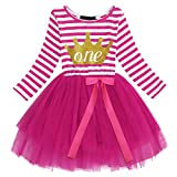 IWEMEK Baby Girls Toddler Kids Princess Long Sleeve Dress 1st/2nd/3rd Birthday Cake Smash Shiny Printed Striped Tulle Tutu Dress Party Outfit (#9 Hot Pink(1 Years))