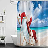 homecoco Shower Curtains for Bathroom Cream Santa,Santa on a Chair Near The Sea Exotic Beach Relaxing Summer Vacation Resting,Blue Sand Brown Red W48 x L72,Shower Curtain for Men