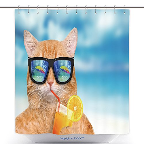vanfan-Polyester Shower Curtains Cat Wearing Sunglasses Relaxing In The Sea Background Polyester Bathroom Shower Curtain Set With Hooks(70 x 92 - Sunglasses Qvc