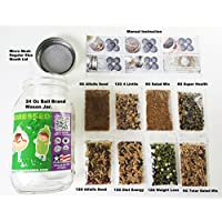 SPROUTER KIT WITH 32 OZ BALL BRAND MASON JAR + MICRO GREEN LID. +8 PACKET VARIETY SPROUTING SEED.