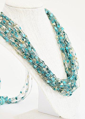 CROCHETLACES Adjustable Soft LIGHTWEIGHT Handmade Crochet Yarn Necklace Scarf- Sea (Lightweight Turquoise Necklace)