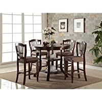 Balboa Traditional 5 Piece Round Counter Height Dining Table & 4 Chairs in Espresso