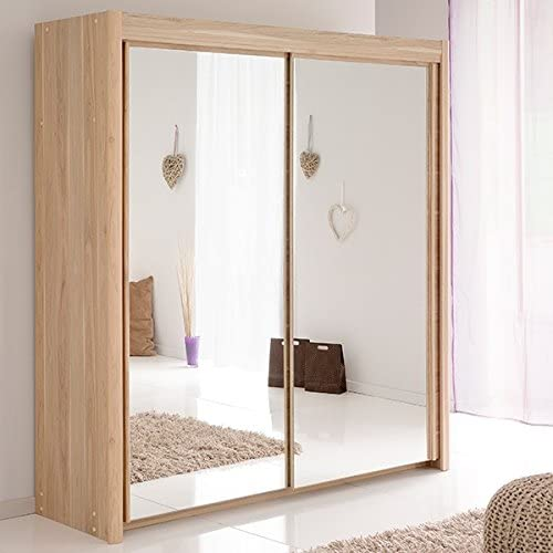 Armario de puertas correderas gris B 181 cm roble Dakota armario para ropa armario armario con espejo decorativo: Amazon.es: Hogar